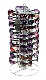 Display holds 36 fashion sunglasses, or celebrity sunglasses